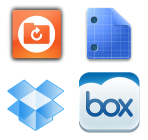 Logo do Ubuntu One, Google Docs, Box e Dropbox, no sentido horário