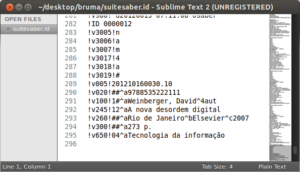 "Exemplo de registro no formato de arquivo ""ID"", visualizado no Sublime Text 2"