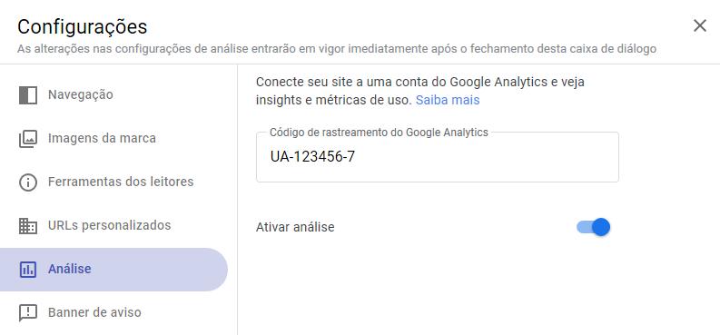 Tela da configuração do Google Sites onde o código de rastreio do Google Analytics deve ser inserido.