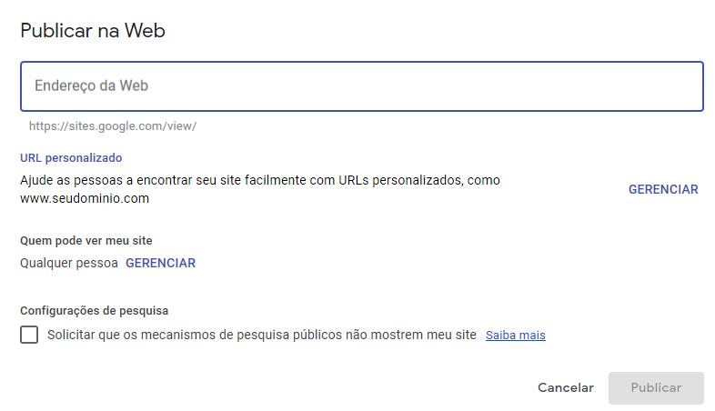 Tela com opções do Google Sites para publicação na web.
