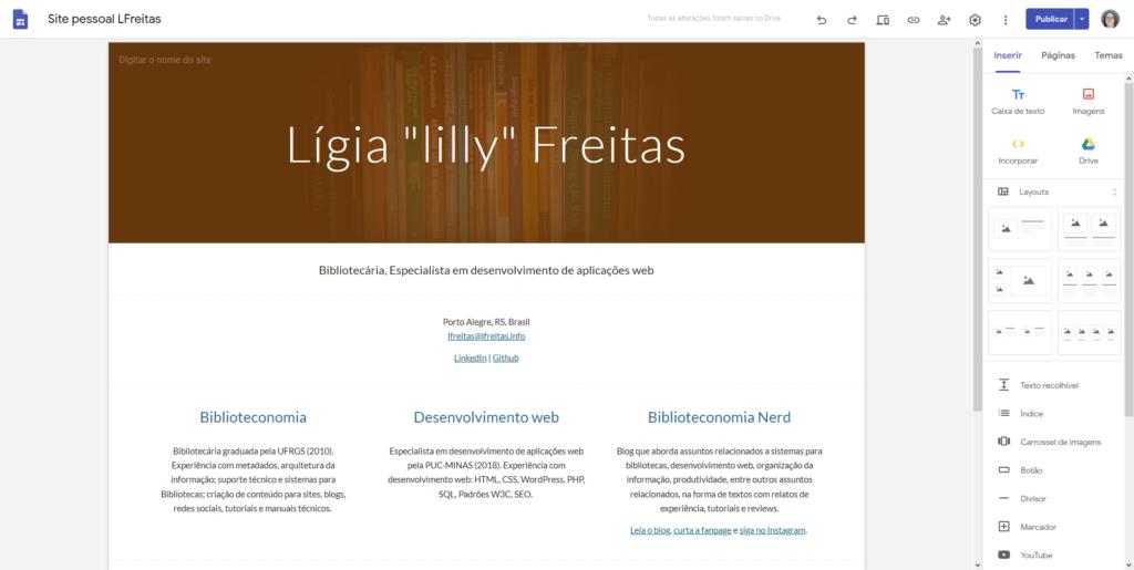 Tela do meu site pessoal recriado na ferramenta Google Sites.