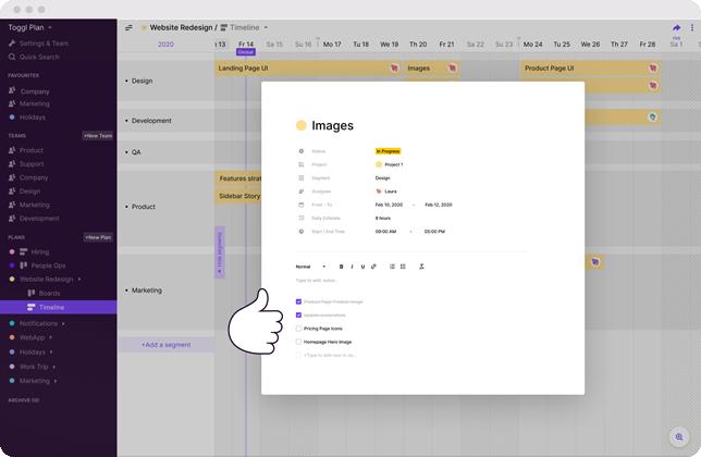 Tela mostrando a funcionalidade de checklists do Toggl Plan. Imagem retirada do site oficial do Toggl Plan.