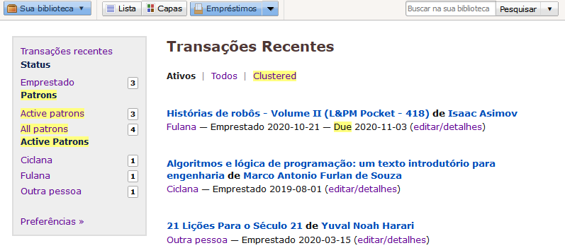 Tela do LibraryThing mostrando as transações recentes.