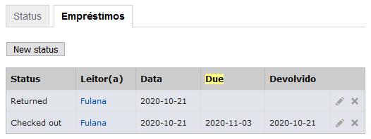 Tela do LibraryThing indicando o histórico de empréstimos de um livro específico.