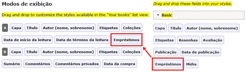 Tela de edição dos modos de exibição no LibraryThing, destacando a inclusão do item Empréstimos.