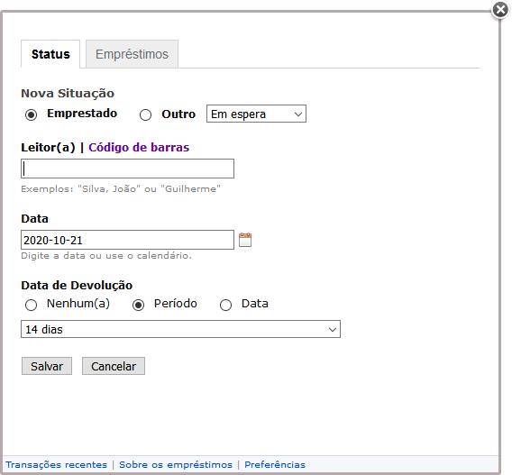 Tela do LibrayThing mostrando as opções para registrar empréstimo.